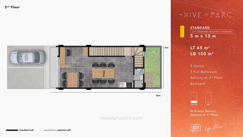 Denah Ruko Hive Parc Tipe Standard Lantai 2