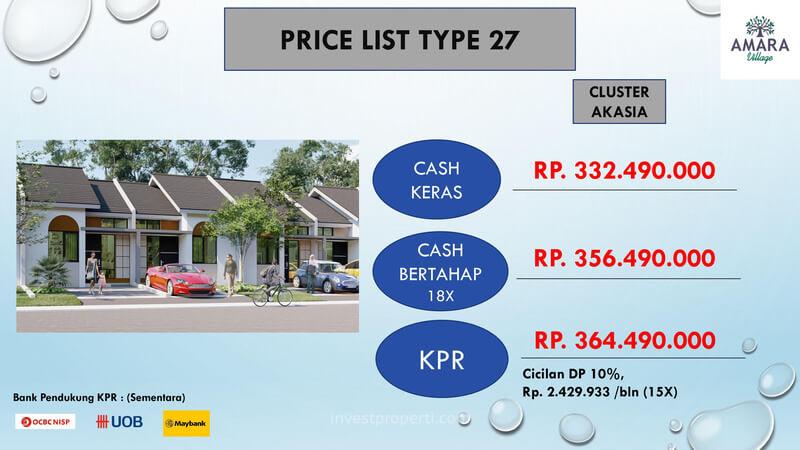 Price List Harga Jual Rumah Amara Village Parung Tipe 27