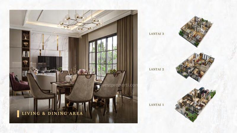 Rumah Bukit Podomoro Jakarta Tipe 8 - Living & Dining Area