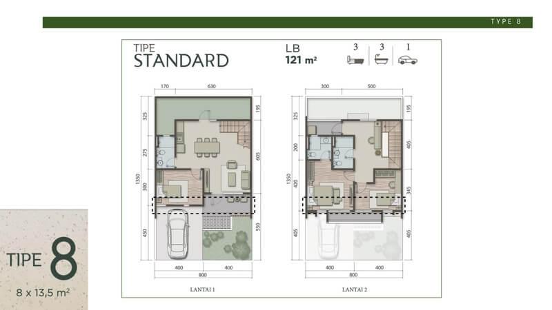 Denah Rumah Carson Summarecon Serpong Tipe 8 Standard