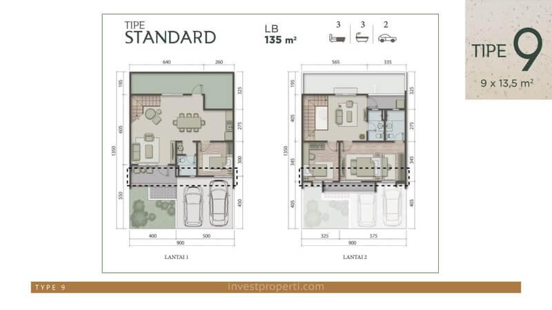 Denah Rumah Carson Summarecon Serpong Tipe 9 Standard