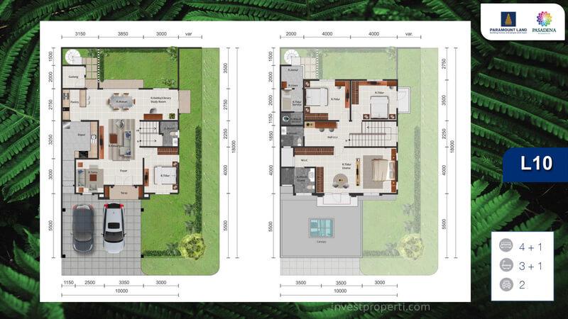 Denah Rumah Pasadena Residences Tipe L10 Corner