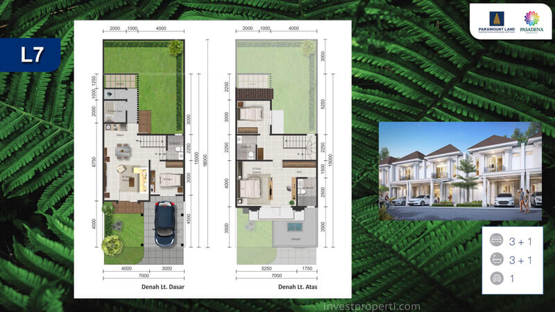 Denah Rumah Pasadena Residences Tipe L7 Std