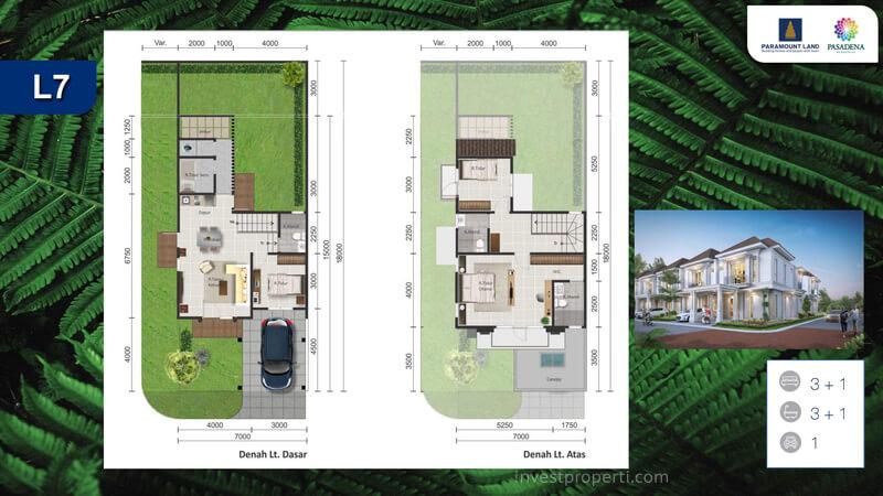 Denah Rumah Pasadena Residences Tipe L7 Corner