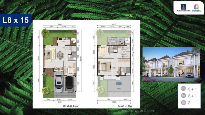 Denah Rumah Pasadena Residences Tipe L8x15 Std