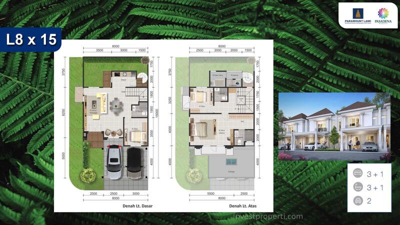 Denah Rumah Pasadena Residences Tipe L8x15 Corner
