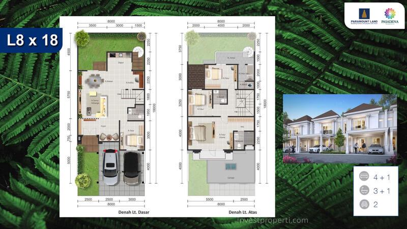 Denah Rumah Pasadena Residences Tipe L8 Std
