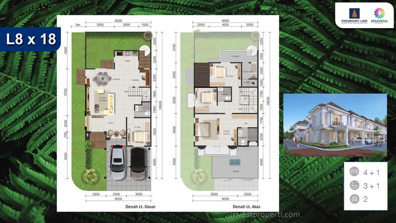 Denah Rumah Pasadena Residences Tipe L8 Corner