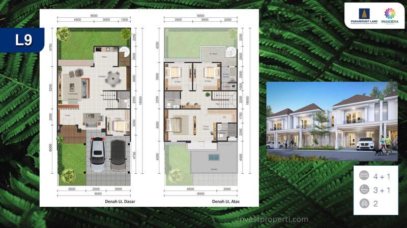 Denah Rumah Pasadena Residences Tipe L9 Std