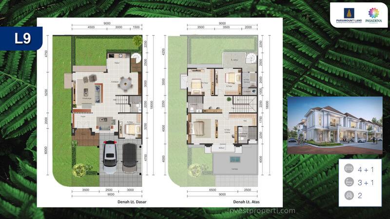 Denah Rumah Pasadena Residences Tipe L9 Corner