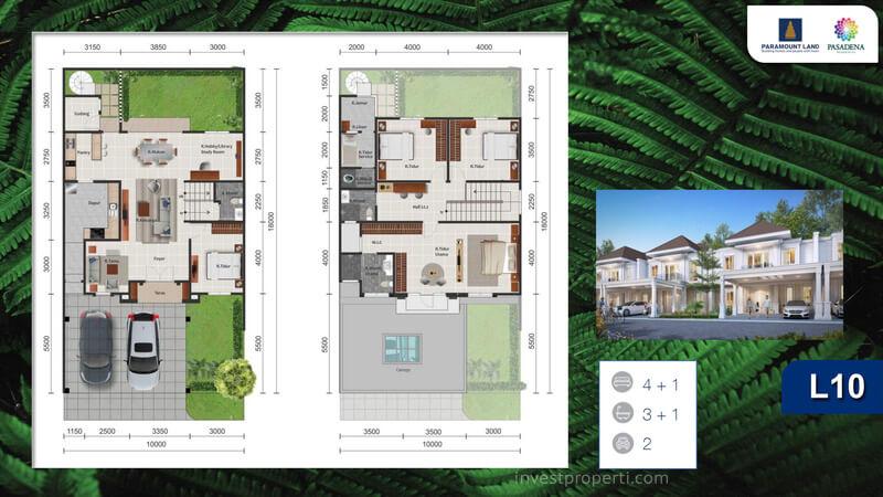Denah Rumah Pasadena Residences Tipe L10
